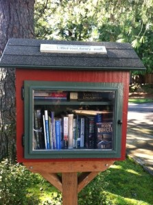 The Old Town Neighborhood Association's Little Free Library is located at the corner of Wilbur and Durham. Neighborhood association chair, Dick Reamer, says that the library does more than promote literacy--it promotes community too. Current titles include: books by Clive Cussler and John Grisham as well as The Berenstein Bears Go to Camp, Adventures of Danny and the Dinosaur and To Kill a Mockingbird.