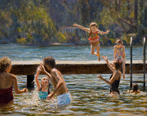 "Swim Park regular, James McGrew, painted this picture of his daughter enjoying the popular Lake Grove destination. ""I lived here for ten years before I knew about this place,"" he admits. But now he and his family find it the perfect spot for swimming, picnicking, enjoying the 4th of July fireworks and...painting."