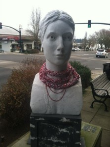 This sculpture outside of Accessories From the Heart received a little help dressing up for the holidays.