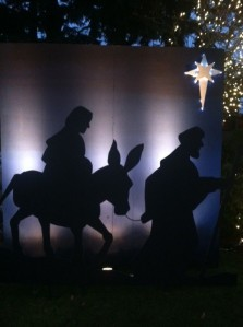 The Nativity Story greets passers-by at Our Lady of the Lake Catholic Church on A Avenue.