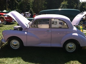 Every car and boat at Oswego Heritage Council's Collector Car & Classic Boat Show comes with a story, including this lilac Morris Minor.