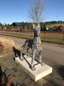 The Guardian of the Lake stands guard just outside Lake Oswego's Hazelia Dog Park.